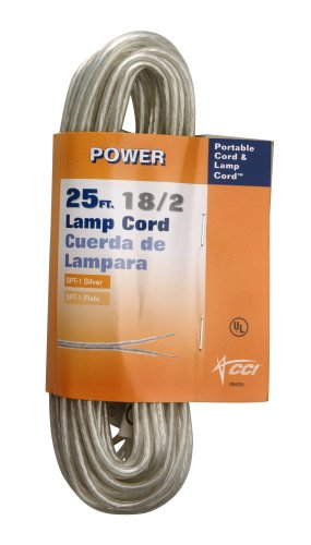 Coleman Cable 9430-89-21 18/2 25-Foot Lamp Cord, Silver - Clear Lamp Cord