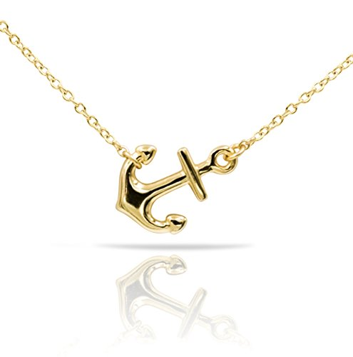 Sterling Silver Pendant Necklace with Polished Sideways Anchor Charm, Gold Rhodium Plated 925 Silver, Adjustable Chain Length 16