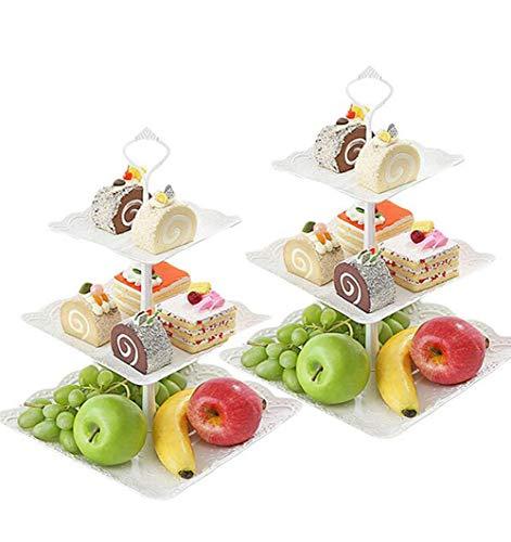 (Seatour 2Pcs European 3-layer fruit plate dessert table multi-layer cake rack dried fruit plate tea snack tray)