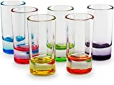 Circleware 42797 Paradise Shot, Set of 6, Assorted Color Bottoms Limited Edition Glass Drinking Cups for Whiskey, Vodka, Brandy, Bourbon and All Type of Beverage Review