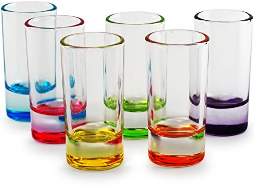 Circleware 42797 Paradise Shot Glasses, Set of 6, Assorted Color Bottoms Limited Edition Drinking Cups for Whiskey, Vodka, Brandy, Bourbon and All Type of (Assorted Brandy)