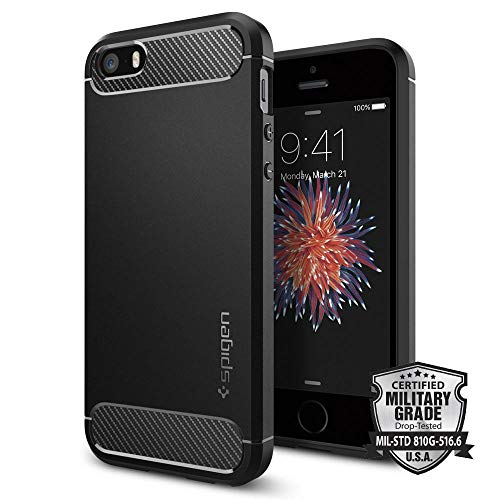 Spigen Rugged Armor Designed for Apple iPhone SE Case (2016) - Black
