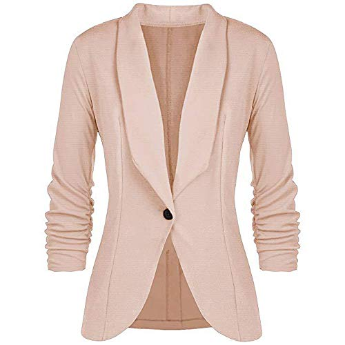 (Sunmoot Fashion Women Elegant Blazer OL Style Three Quarter Sleeve Slim Suit Coat Beige)