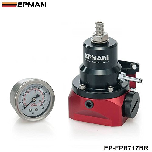 EPMAN Universal Adjustable Injected Bypass Fuel Pressure Regulator Fitting End AN10 (With 160psi Gauge) Boost Reference Regulator