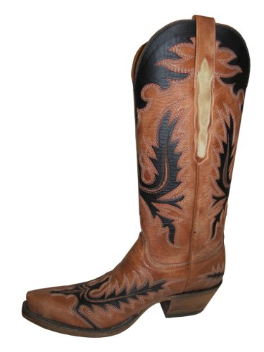 Lucchese Mujeres L4741.s54 Classic Cowboy Botas Destruido Pearwood Tan