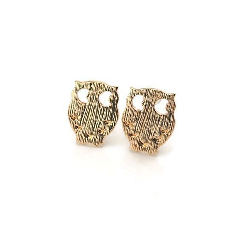 Owl Studs, Invisible Clip On Earrings for Non-Pierced Ears, 12mm, Gold-Tone