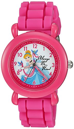Disney Girl's 'Cinderella' Quartz Plastic and Silicone Casual Watch, Color:Pink (Model: WDS000019)