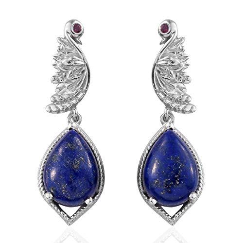 925 Sterling Silver Platinum Plated Lapis Lazuli Rhodolite Garnet Dangle Drop Earrings for Women Jewelry Gift
