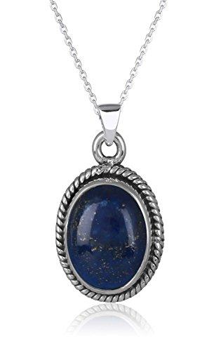 Aden's Jewels Women's Cabochon Pendant Lapis Lazuli Gemstone Silver Collar Gold Blu 30 X 15Mm Chain