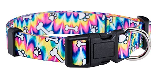 Native Pup Tie Dye Dog Collar/Paws and Bones Dog Collar - D-ring Bones
