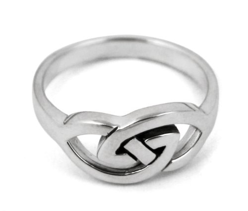 Celtic Couplet Sterling Silver Ring - size 8