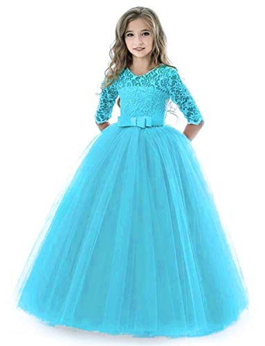 (KISSOURBABY Long Dresses for Girls Size 5-6 Blue Pageant Party Holiday Graduation Dress for Girls Dresses Ball Gowns for Girls Long Sleeve Birthday Fancy Tutu Dress (Lake Blue 130))