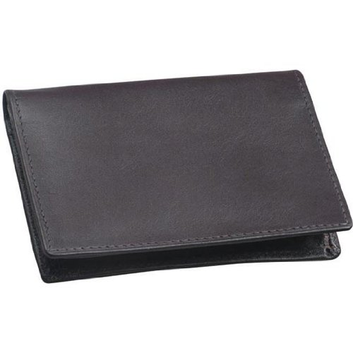 (Cowhide Drum-Dyed Nappa Leather Two Fold ID Business Card Case Color: Black)