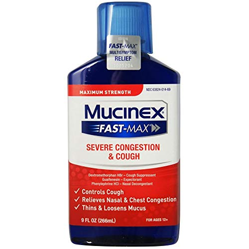 Congestion and Cough Liquid,Mucinex Fast-Max Severe Congestion and Cough Liquid, 9 fl. oz., Fast Acting Maximum Strength Formula Relieves Nasal & Chest Congestion, Controls Cough,Thins & Loosens Mucus