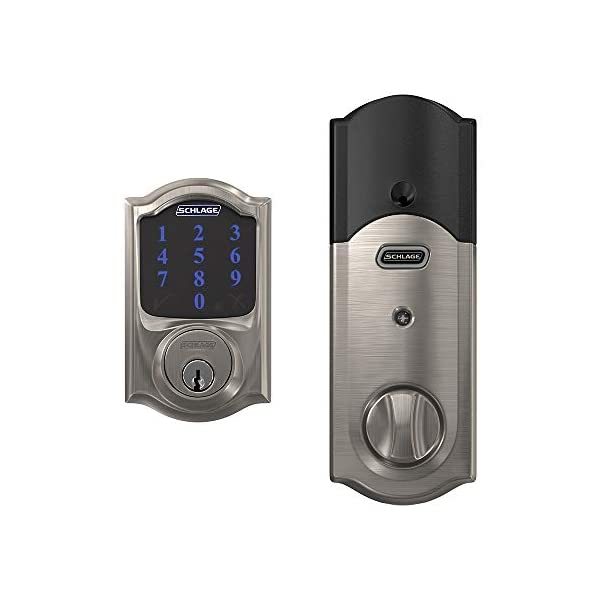 Schlage BE469ZP CAM 619 Connect Smart Deadbolt with alarm with Camelot Trim in Satin Nickel, Z-Wave Plus enabled 2