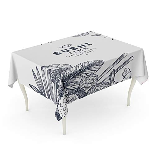 Tarolo Rectangle Tablecloth 60 x 84 Inch Japan Sushi Asian Food Restaurant Abstract Asium China Chinese Table ()