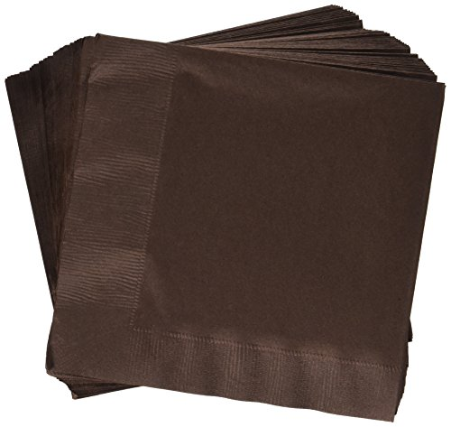 Chocolate 3 Ply (Creative Converting Paper Napkins, 3-Ply Luncheon Size, Chocolate Brown Color, 50-Count Packages (Pack of 5))