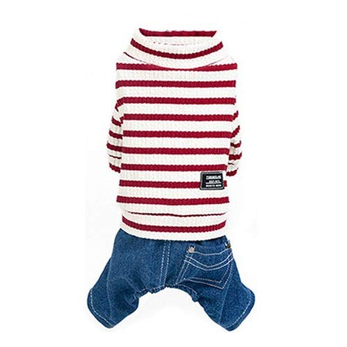 Red XL Red XL Totots Pet Clothes Casual Bear Stripe Denim Four-Legged Clothes Set (XL, Green) (color   Red, Size   XL)