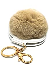 Teri's Boutique Faux Rabbit Fur Ball Pom Pom Mirror Pendant Charm Woman Fashion Keychain