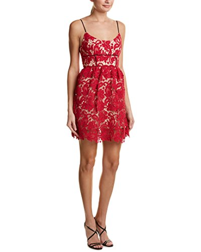 (ABS Allen Schwartz Women's Guipure Lace Sun Dress with Contrast Straps, Magenta, 8)