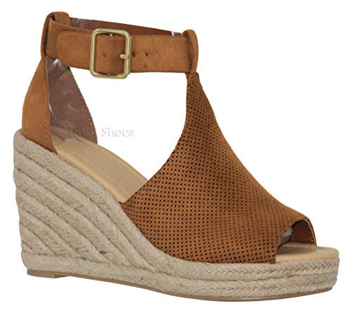 MVE Shoes Women's Open Toe Cutout Ankle Strap Platform Wedge, tan su Size 10
