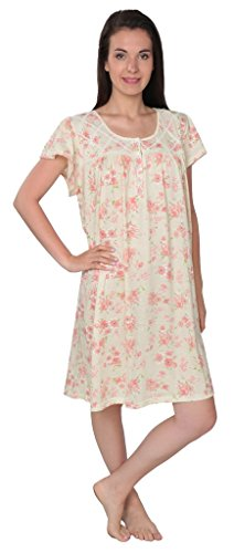 - Beverly Rock Women's Floral Print Short Sleeve Nightgown N104 Yellow 1X