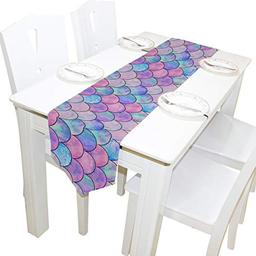 AGONA Attractive Mermaid Fish Scales Polyester Table Runner 13 x 70 Inches Long Table Linens Top for Wedding Birthday Dinner Party Banquets Graduations Engagements Home Dec