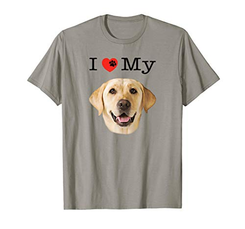 - I Heart Love My Yellow Lab Portrait of Labrador Face T-Shirt
