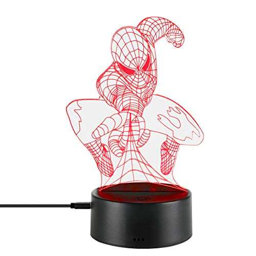 3D Optical illusion Night Lamp Light USB Cable Smart Touch Button Desk Table Lights 7 Color Changing Bedroom Table Lamp Home Decoration Kids Gift (spiderman)