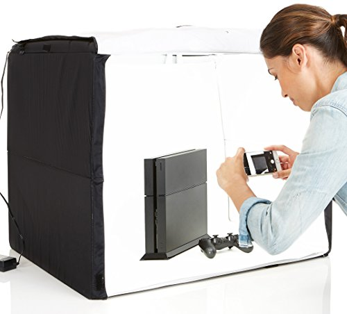 AmazonBasics Portable Foldable Photo Studio Box with LED Light - 25 x 30 x 25 Inches (Best Portable Led Light For Photography)