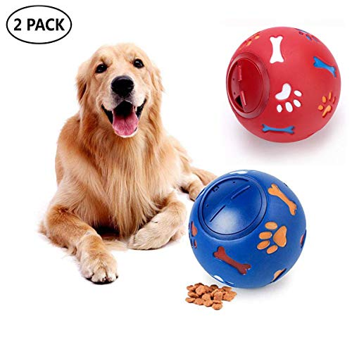 LEMON PET Puppy Dog Food Dispensing Feeder Ball IQ Treat Interactive Dogs Toy, Adjustable Opening Balls Feeder Toy for Small Medium Large Dogs (L, Blue+Red)