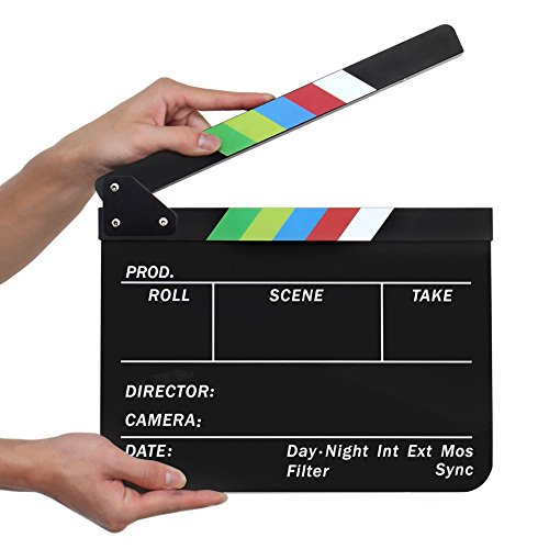 Flexzion Acrylic Plastic Clapboard Director's Clapper Board Dry Erase Cut Action Scene Slateboard For Hollywood Camera Film Studio Home Movie Video 10x12 with Color Sticks