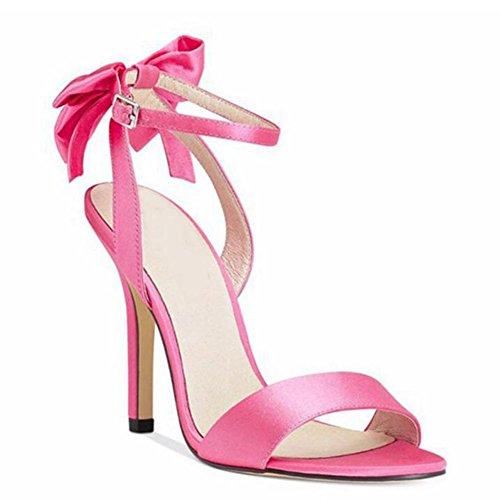 L@YC Damen High-Heels Schuhe mit Satin fein mit 8cm Bogen Tanz Sandalen Pink