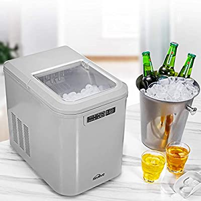 Kealive Ice Maker Machine, Ice Cube Maker, Countertop Ice Maker, 28lbs Ice in 24 hours, 7-13 minutes Producing, with LED Display, 2 Quart Water Tank and Ice Scoop, for Home, Bar, Restaurant, Silver