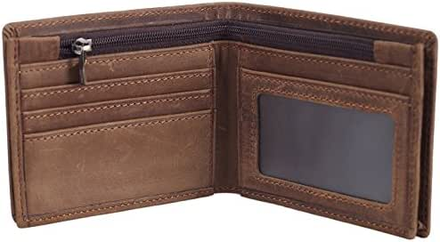 Polare Men's RFID Blocking Cowboy Genuine Natural Crazy Horse Leather Bifold Wallet