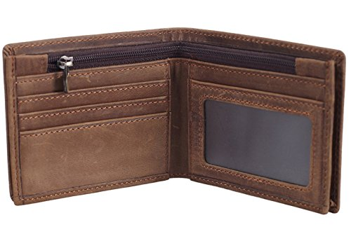 Polare Men's RFID Blocking Cowboy Genuine Natural Crazy Horse Leather Bifold Wallet