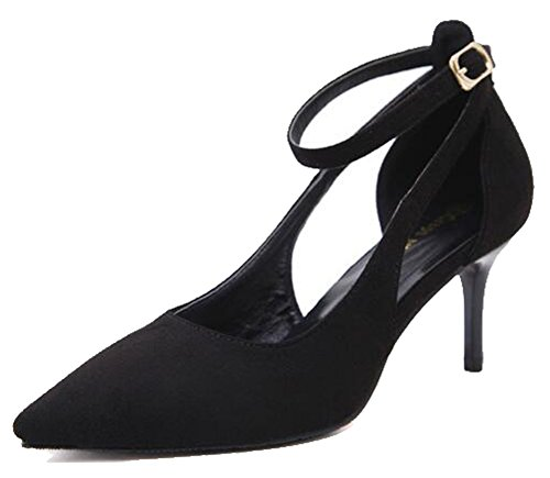 Easemax Womens Sexy Frosted Ankle Buckle Straps Pointed Toe Mid Kitten Heel Sandals Black TlOkm5sR