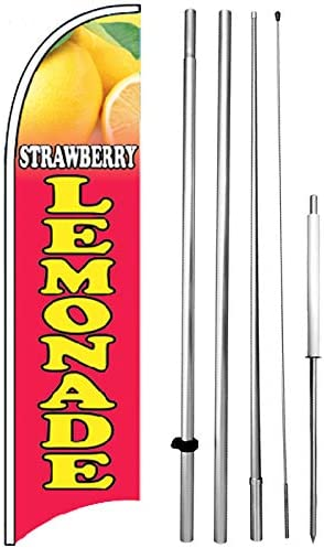 Strawberry Lemonade Windless Swooper Flag Kit 15 Tall Feather Banner Sign pb-h
