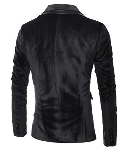 Domple Mens Slim Velvet Outwear Lapel One Button Sport Coat Blazer Jacket Black US L by Domple (Image #1)