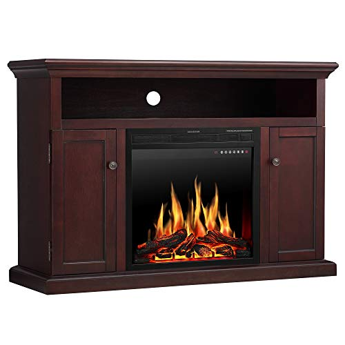 JAMFLY Wood Electric Fireplace Mantel TV Stand for TV Up to 55