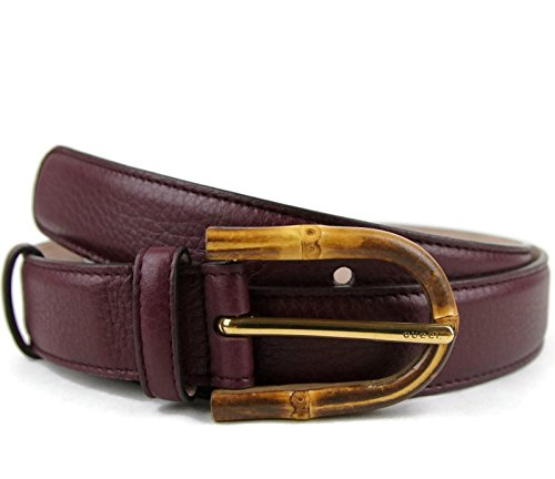 Gucci Women's Burgundy Leather Bamboo Buckle Belt 322954 6149 (85 / 34) by Gucci
