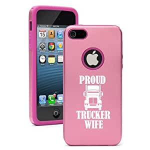 """Apple iPhone 6 (4.7"""") Aluminum Silicone Dual Layer Hard Case Cover Proud Trucker Wife (Pink)"""