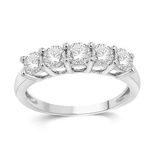 NATALIA DRAKE 10KT White Gold 1.00cttw 5 Stone Bridal Diamond Ring (SZ 7) ()
