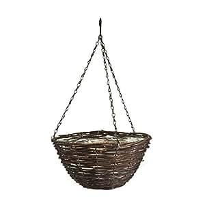 Panacea Productos colgar cesta de ratán en color negro (30,5cm, natural