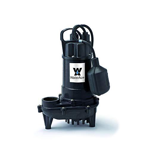 (WaterAce WA33CSW Sump Pump, 1/3 HP, Black)
