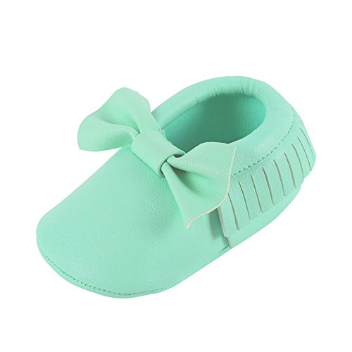 Weixinbuy Baby Boys Girls Soft Soled Tassel Bowknots Crib Shoes PU Moccasins ()