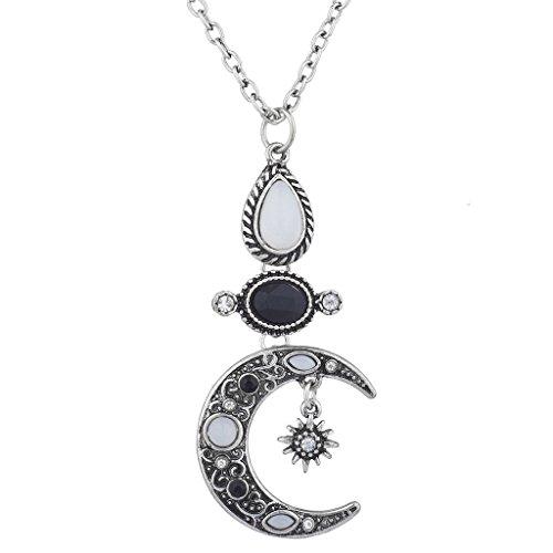 Lux Accessories Burnish SilverTone Celestial Crescent Moon Pendant (Interchangeable Gemstone Pendant)
