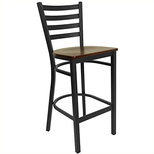 Flash Furniture HERCULES Series Black Ladder Back Metal Restaurant Barstool - Mahogany Wood Seat - Mahogany Bar Stools