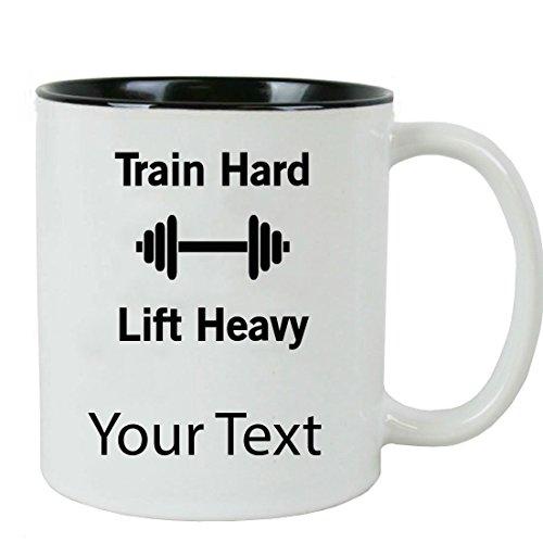 Personalized Custom Train Hard Weightlifting 11 oz White Ceramic Coffee Mug with White Gift Box