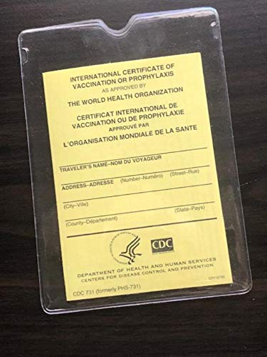 """INTERNATIONAL CERTIFICATE OF VACCINATION OR PROPHYLAXIS"" with plastic cover"